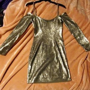 Express off the shoulder sequin dress